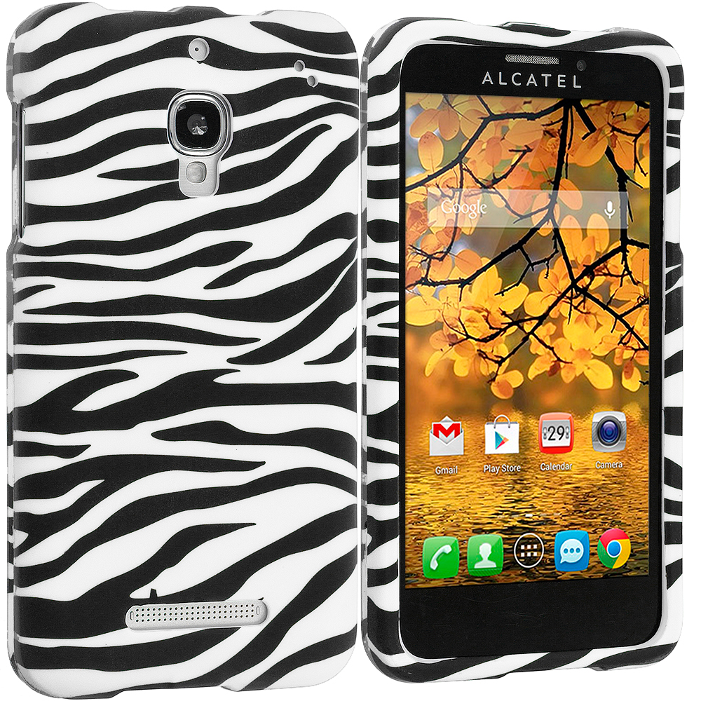 Alcatel One Touch Fierce 7024W Black/White Zebra Hard Rubberized Design Case Cover