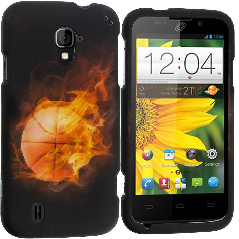 ZTE Majesty Z796C Flaming Basketball 2D Hard Rubberized Design Case Cover