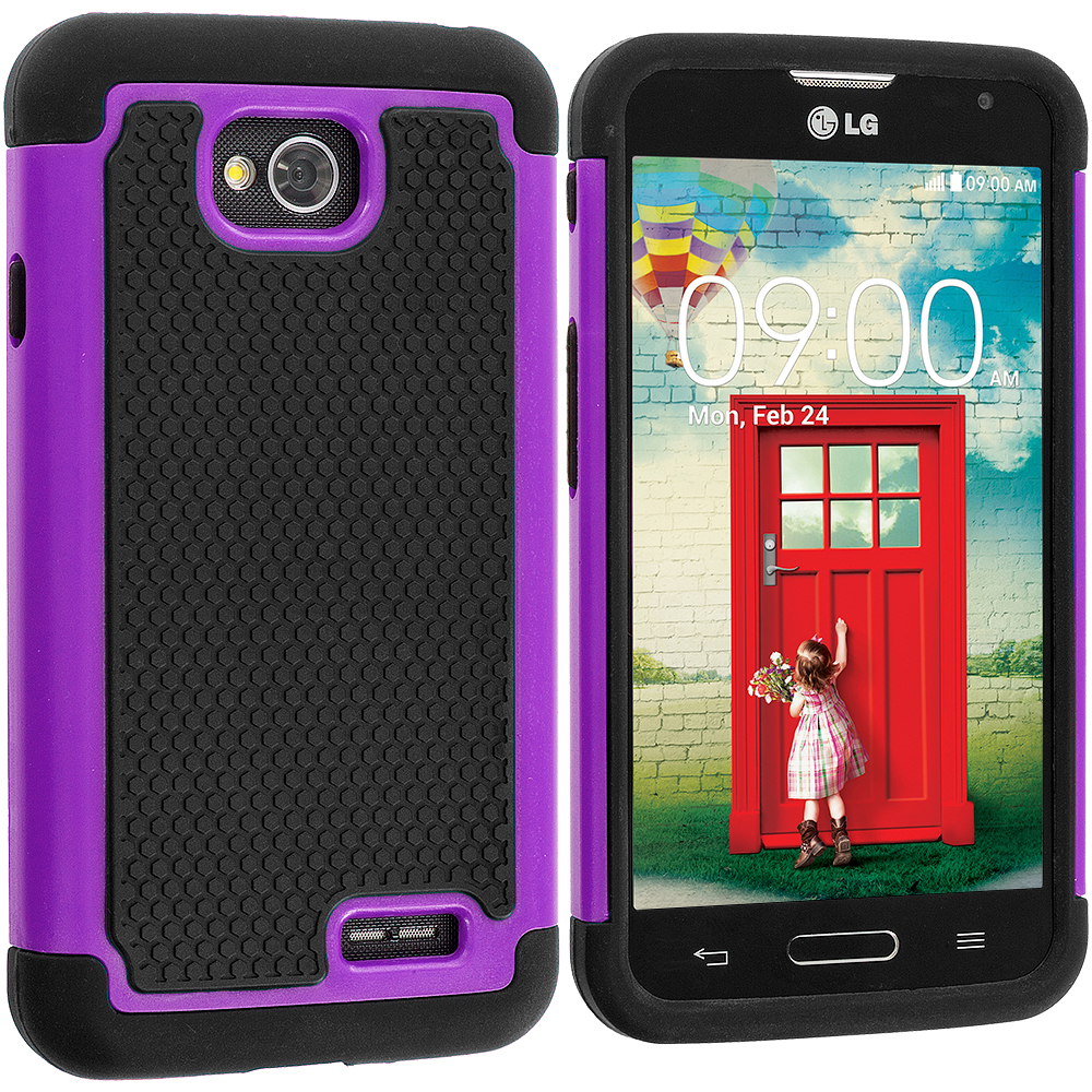 LG Optimus L90 Black / Purple Hybrid Rugged Hard/Soft Case Cover