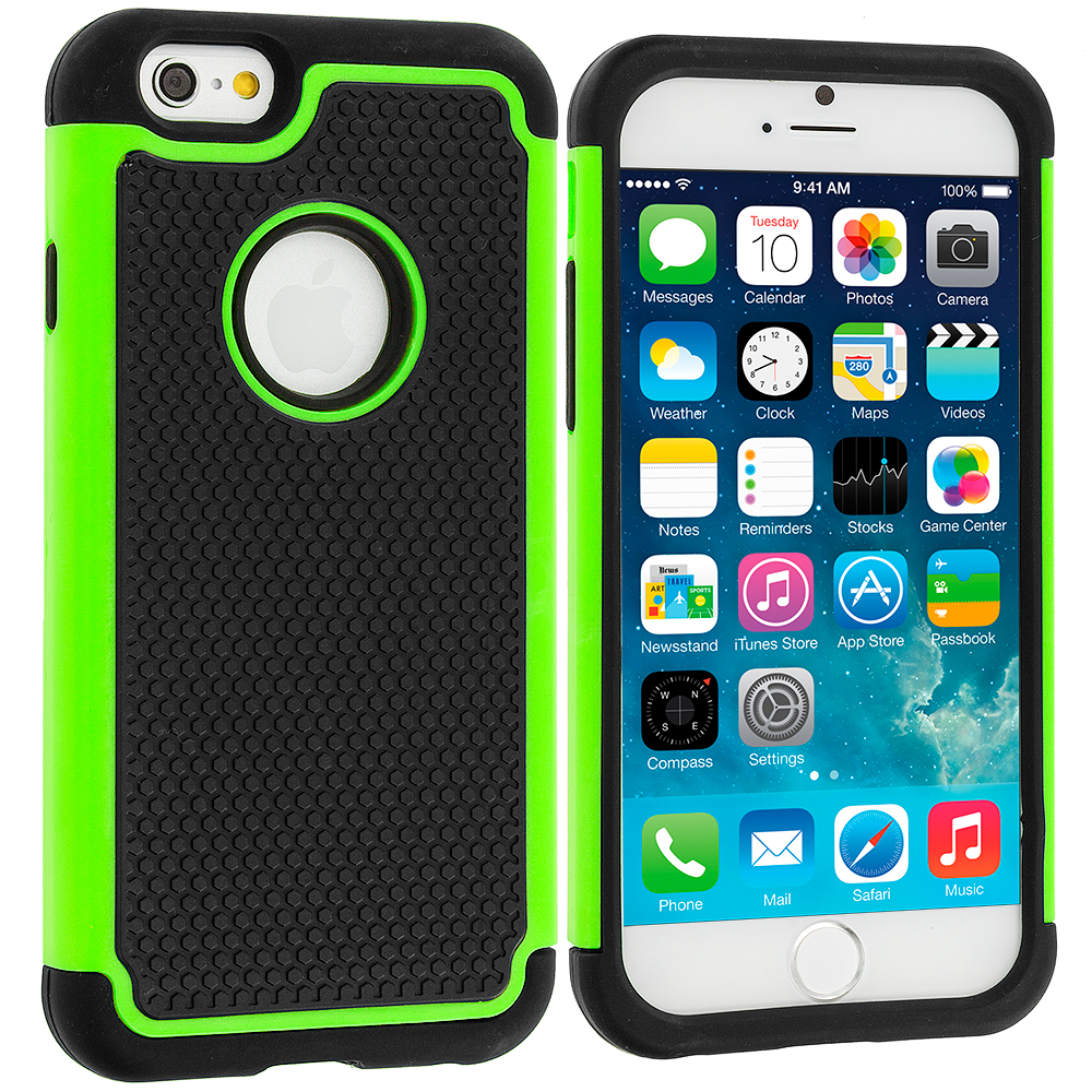 Apple iPhone 6 6S (4.7) Black / Neon Green Hybrid Rugged Hard/Soft Case Cover