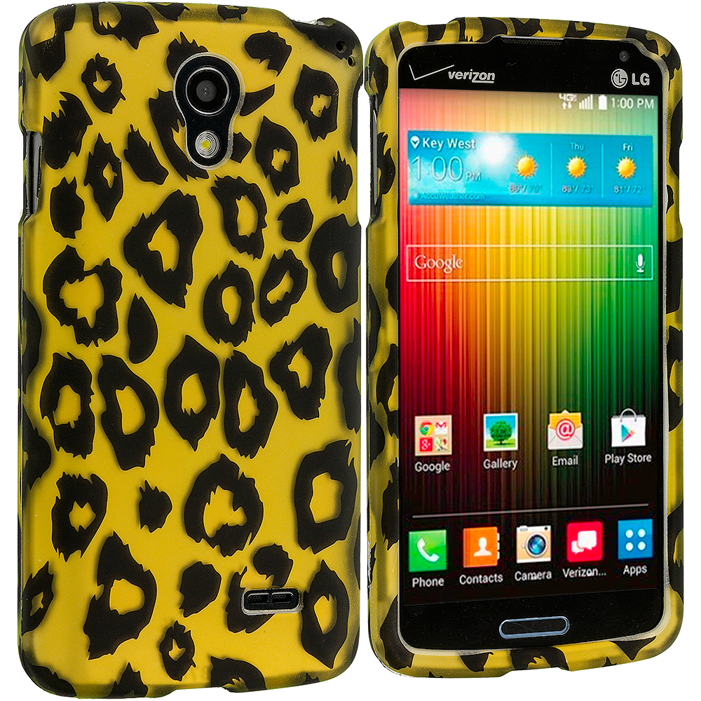 LG Lucid 3 VS876 Black Leopard on Golden 2D Hard Rubberized Design Case Cover