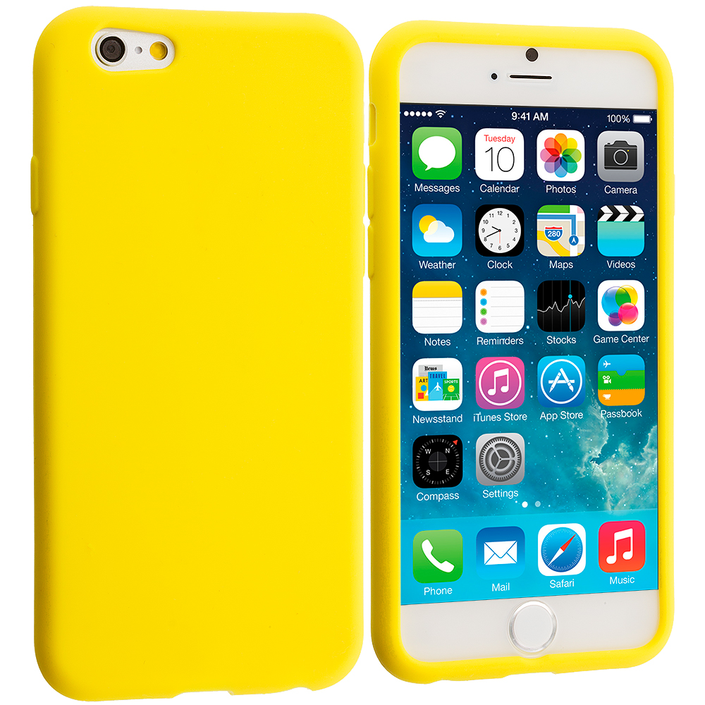 Apple iPhone 6 Plus 6S Plus (5.5) 5 in 1 Combo Bundle Pack - Silicone Soft Skin Rubber Case Cover : Color Yellow