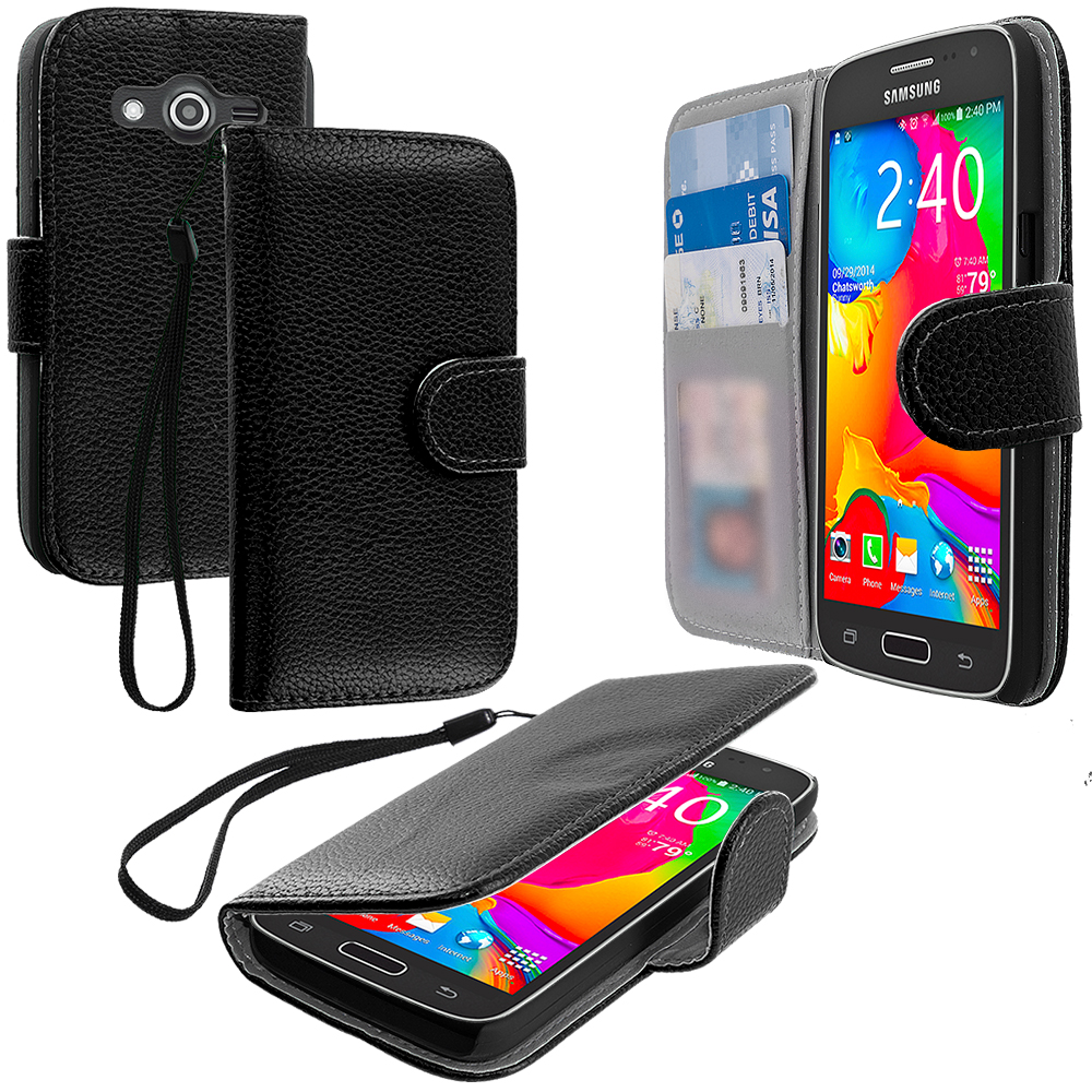 Samsung Galaxy Avant G386 Black Leather Wallet Pouch Case Cover with Slots