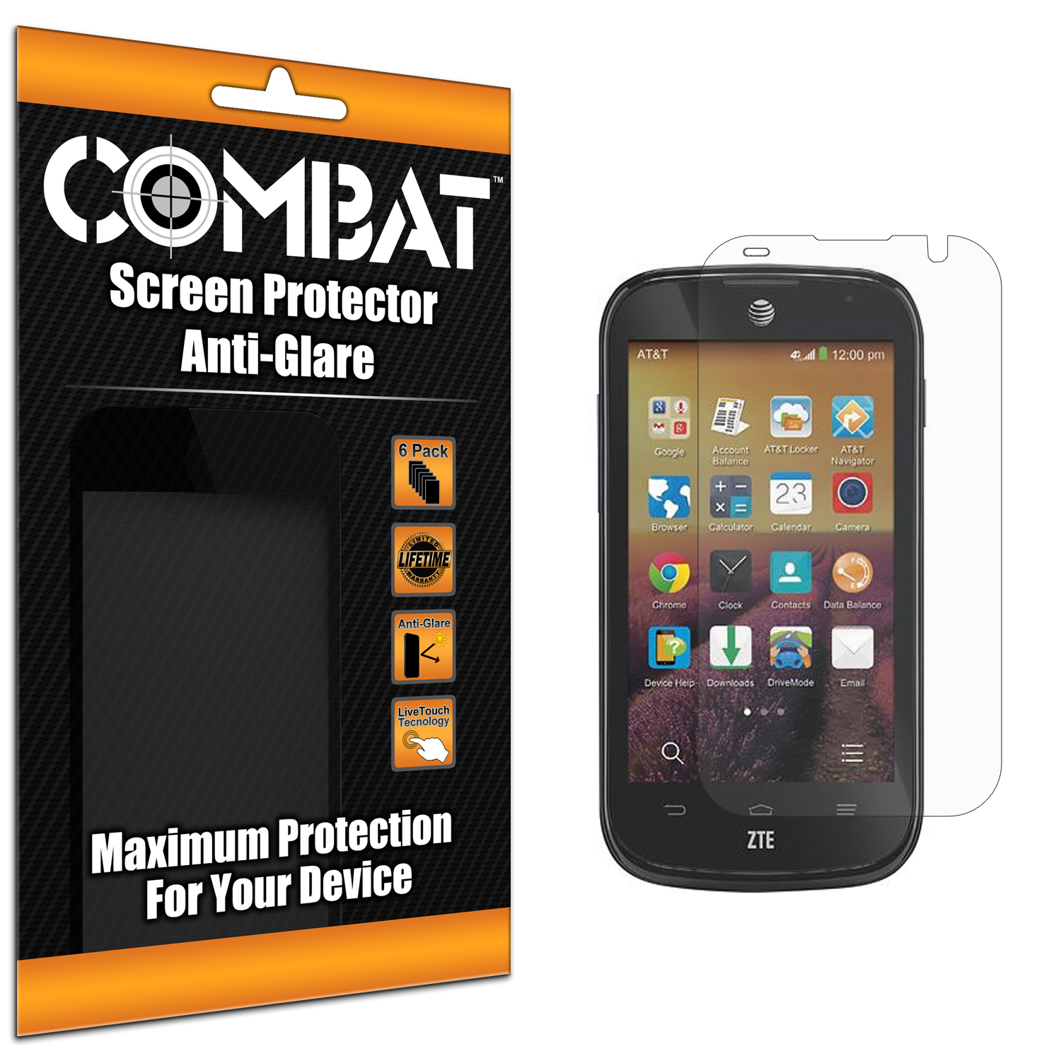 ZTE Compel Combat 6 Pack Anti-Glare Matte Screen Protector