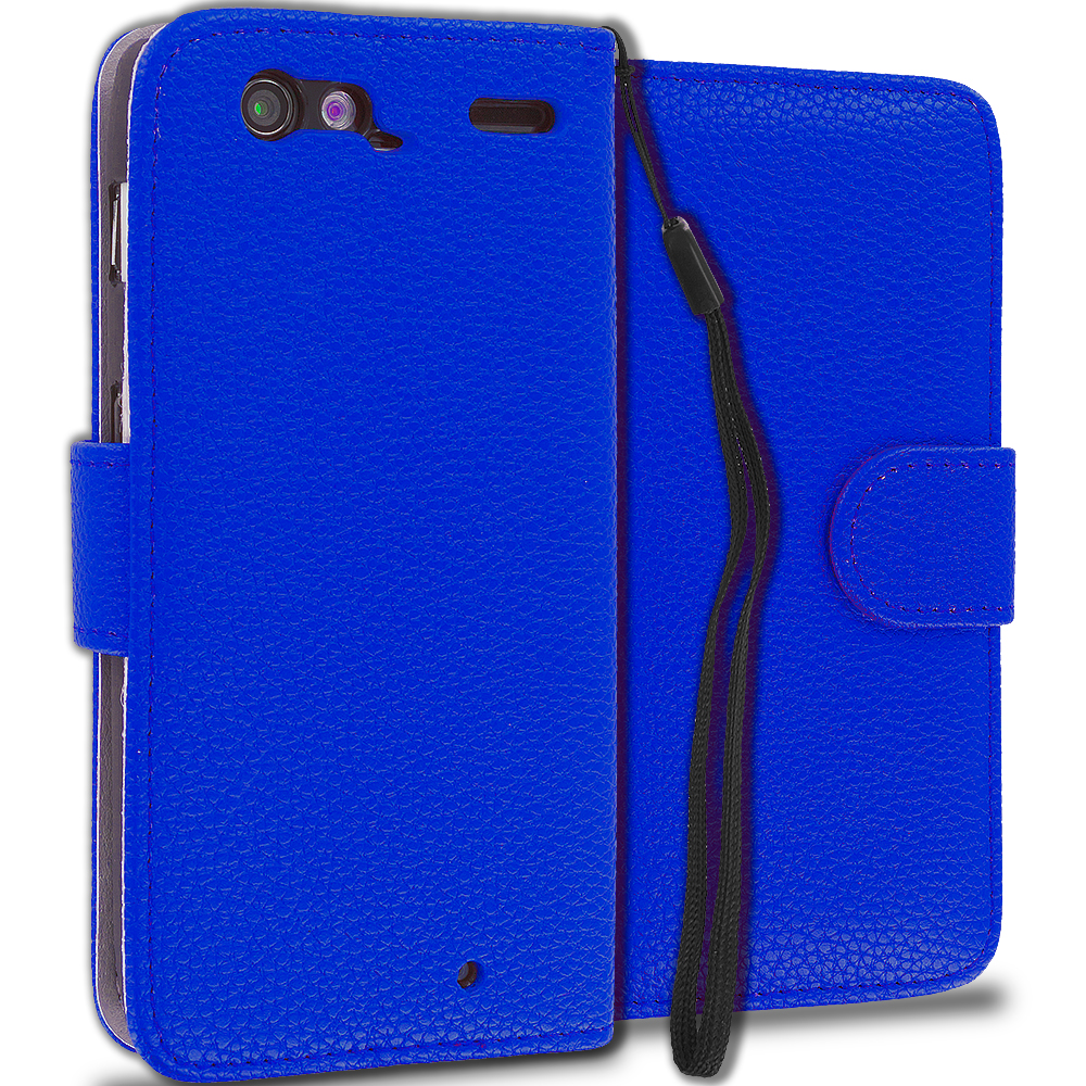 Motorola Droid Razr XT912 Blue Leather Wallet Pouch Case Cover with Slots