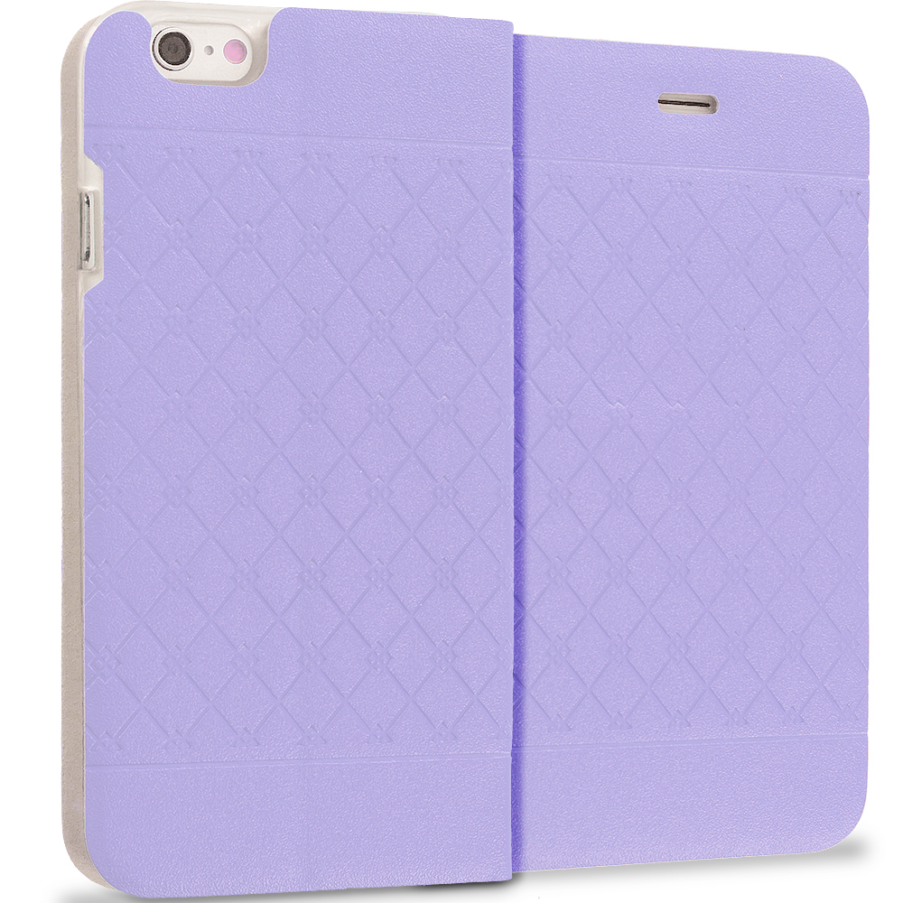 Apple iPhone 6 6S (4.7) Purple Slim Wallet Plaid Luxury Design Flip Case Cover