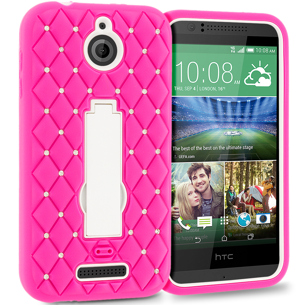 HTC Desire 510 512 Hot Pink / White Hybrid Diamond Bling Hard Soft Case Cover with Kickstand