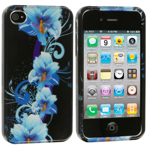 Apple iPhone 4 / 4S Blue Flower Design Crystal Hard Case Cover