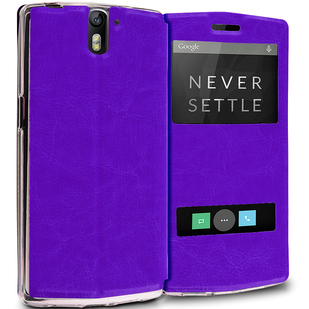 OnePlus One Purple Slim Hard Wallet Flip Case Cover With Double Window
