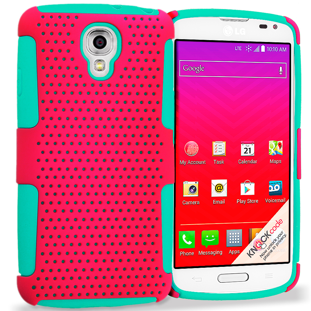 LG Volt LS740 Baby Blue / Hot Pink Hybrid Mesh Hard/Soft Case Cover
