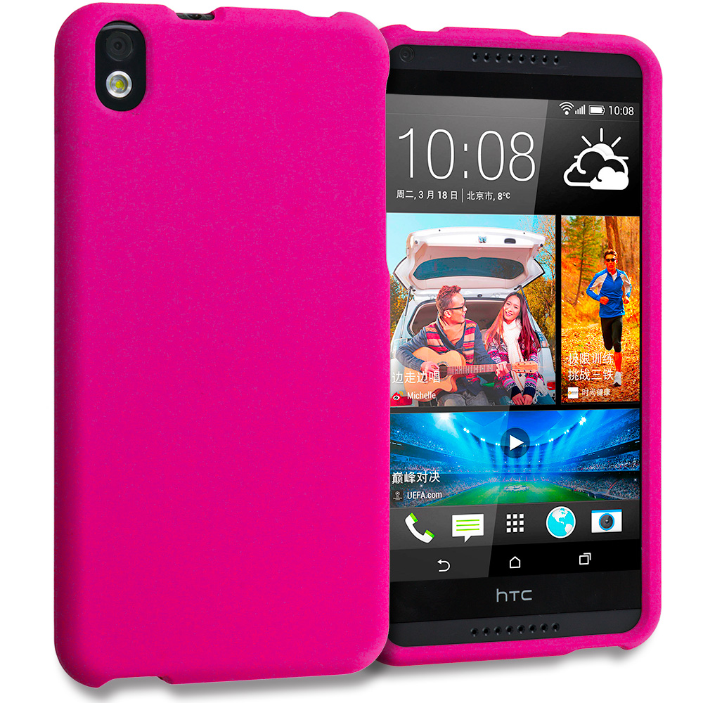 HTC Desire 816 Hot Pink Hard Rubberized Case Cover