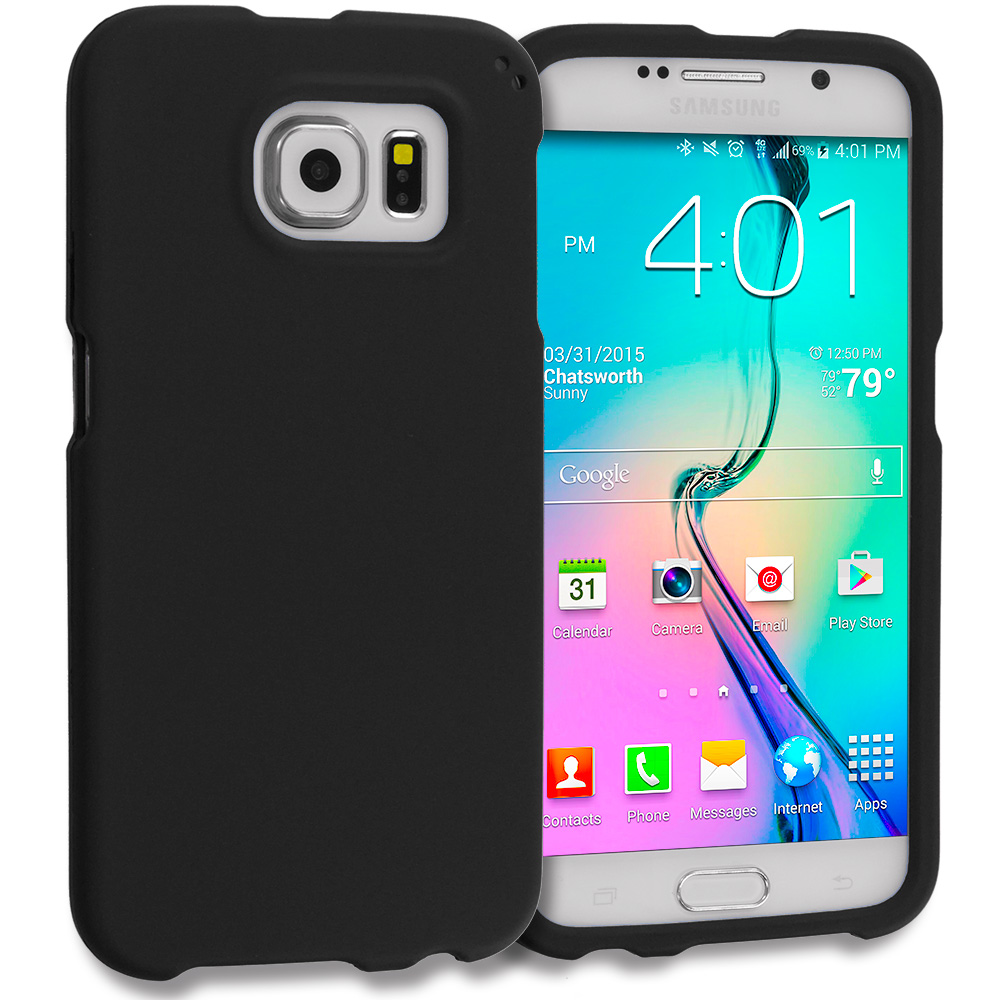 Samsung Galaxy S6 2 in 1 Combo Bundle Pack - Hard Rubberized Case Cover : Color Black