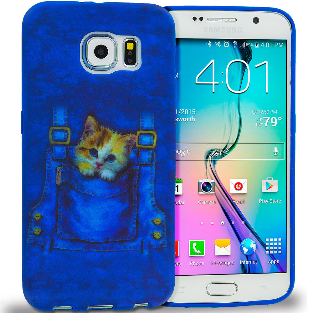 Samsung Galaxy S6 Combo Pack : Polar Bear TPU Design Soft Rubber Case Cover : Color Kitty Cat Jeans