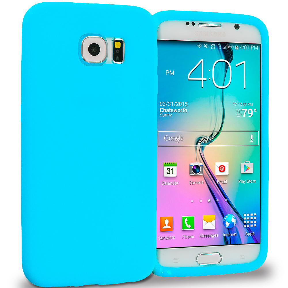 Samsung Galaxy S6 3 in 1 Combo Bundle Pack - Silicone Soft Skin Rubber Case Cover : Color Baby Blue