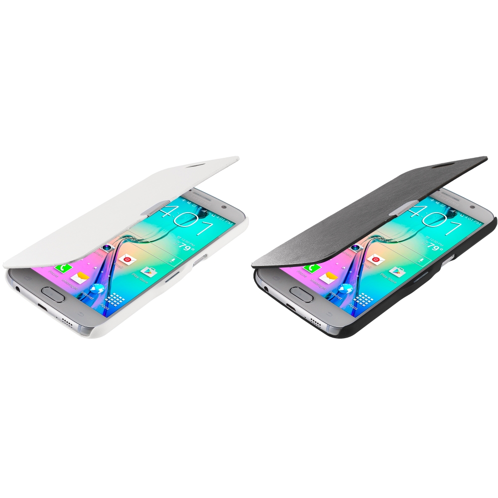 Samsung Galaxy S6 2 in 1 Combo Bundle Pack - Magnetic Flip Wallet Case Cover Pouch