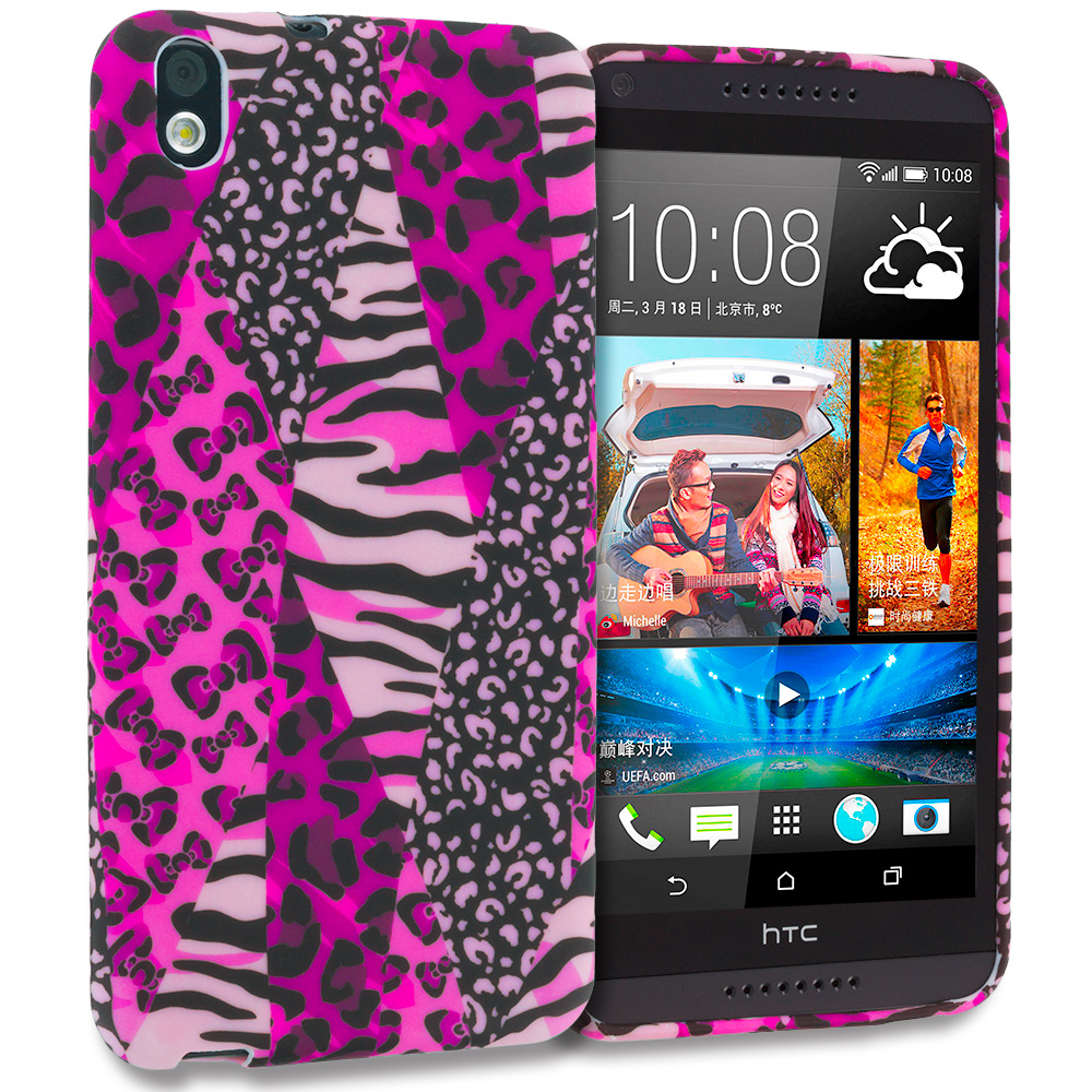 HTC Desire 816 Bowknot Zebra TPU Design Soft Rubber Case Cover