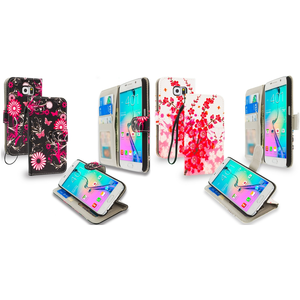 Samsung Galaxy S6 Combo Pack : Pink Butterfly Flower Leather Wallet Pouch Case Cover with Slots