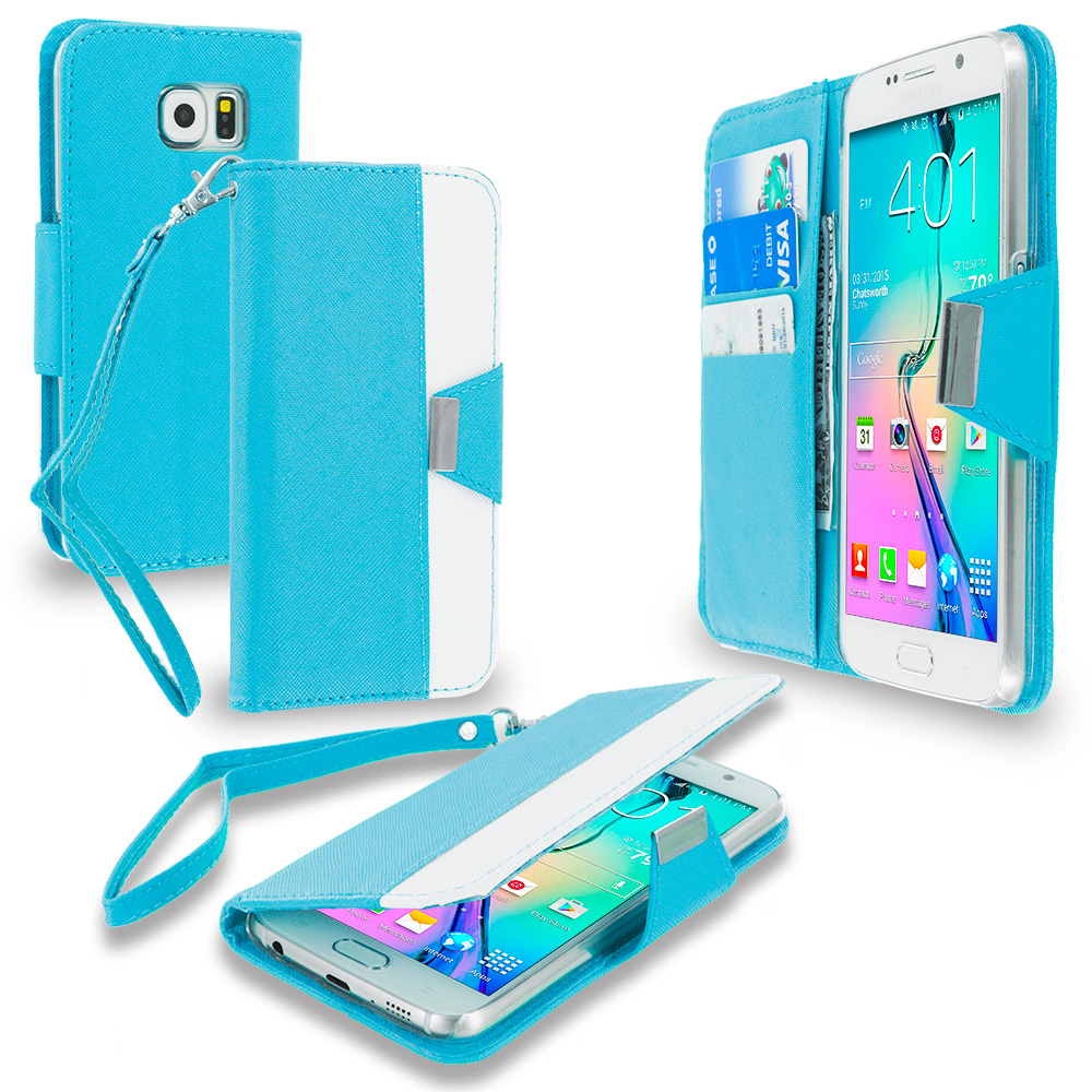 Samsung Galaxy S6 4 in 1 Combo Bundle Pack - Wallet Magnetic Metal Flap Case Cover With Card Slots : Color Baby Blue
