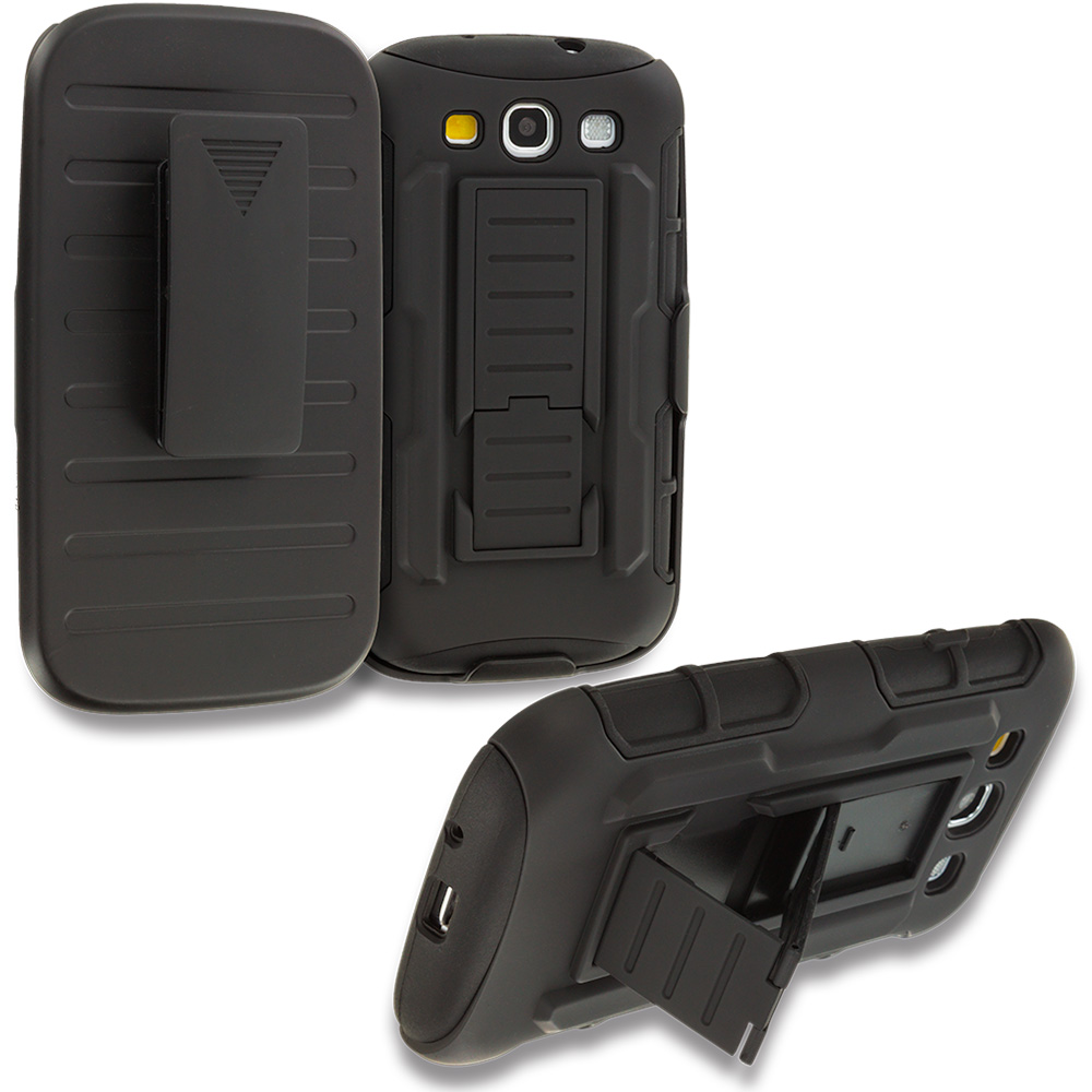 Samsung Galaxy S3 Black Hybrid Rugged Robot Armor Heavy Duty Case Cover with Belt Clip Holster