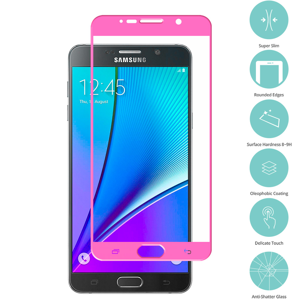 Samsung Galaxy Note 5 Hot Pink Tempered Glass Film Screen Protector Colored