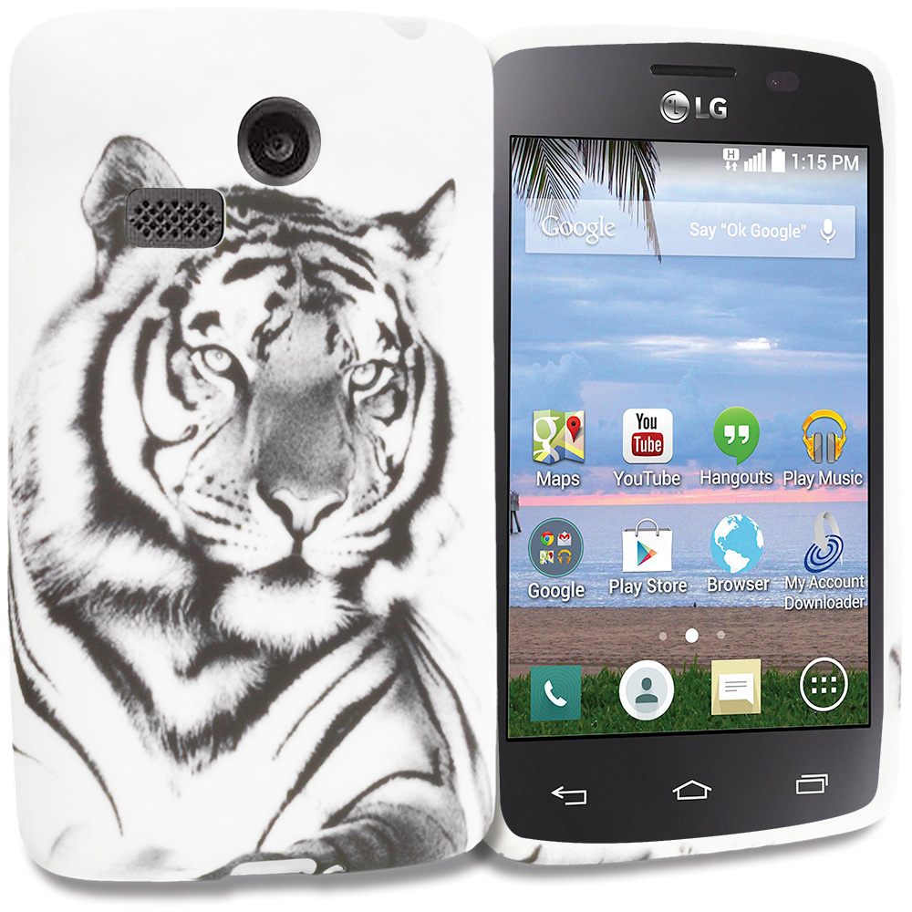LG Sunrise Lucky L15G L16C White Tiger TPU Design Soft Rubber Case Cover