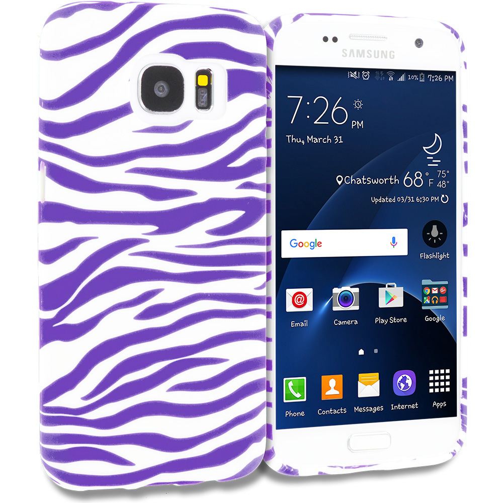 Samsung Galaxy S7 Combo Pack : Pink / White Zebra TPU Design Soft Rubber Case Cover : Color Purple / White Zebra