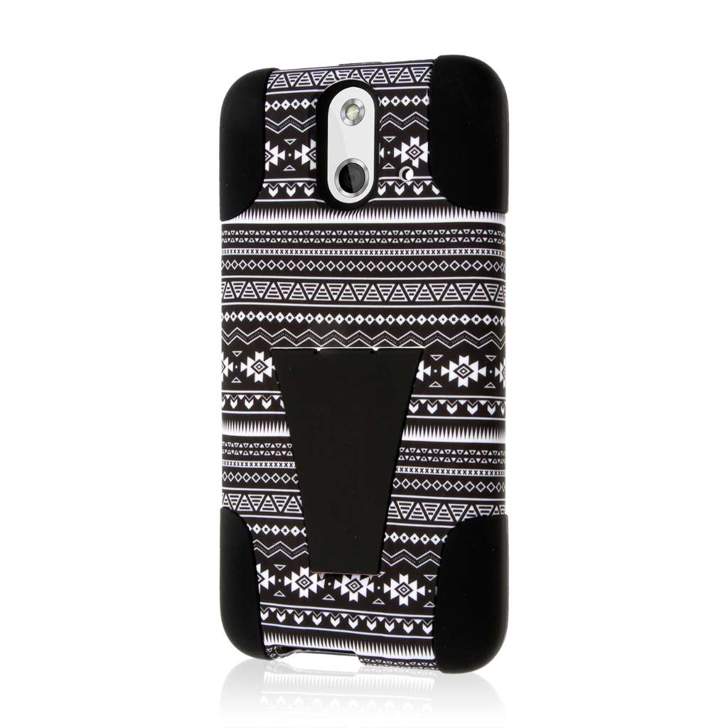 HTC One E8 - Black Aztec MPERO IMPACT X - Kickstand Case Cover