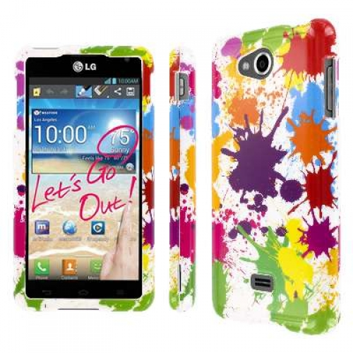 LG Spirit 4G - White Paint Splatter MPERO SNAPZ - Glossy Case Cover