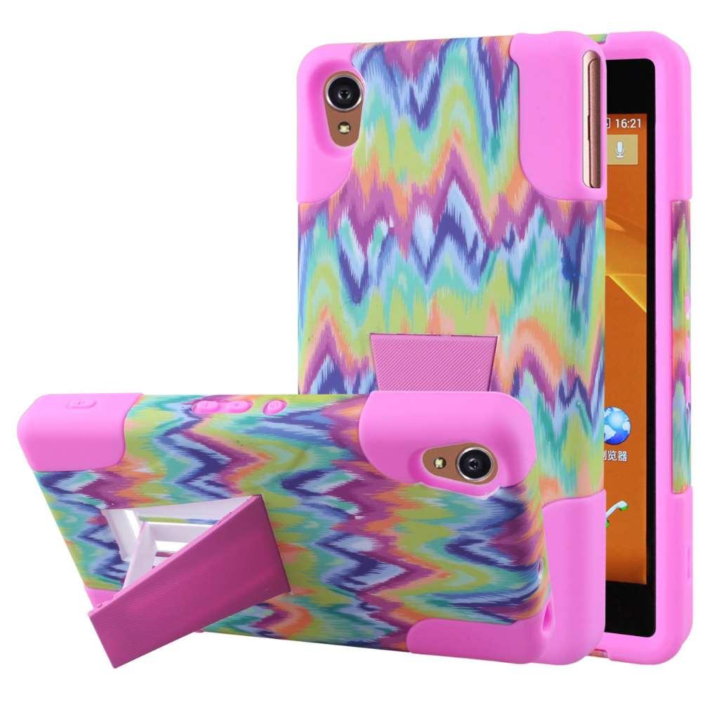 Sony Xperia Z3v - Pink Tie Dye Chevron MPERO IMPACT X - Kickstand Case Cover