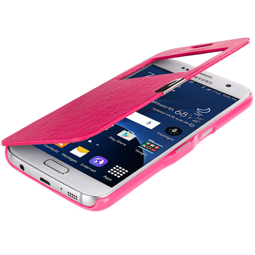 Samsung Galaxy S7 Combo Pack : Hot Pink With Window Magnetic Flip Wallet Case Cover Pouch : Color Hot Pink With Window