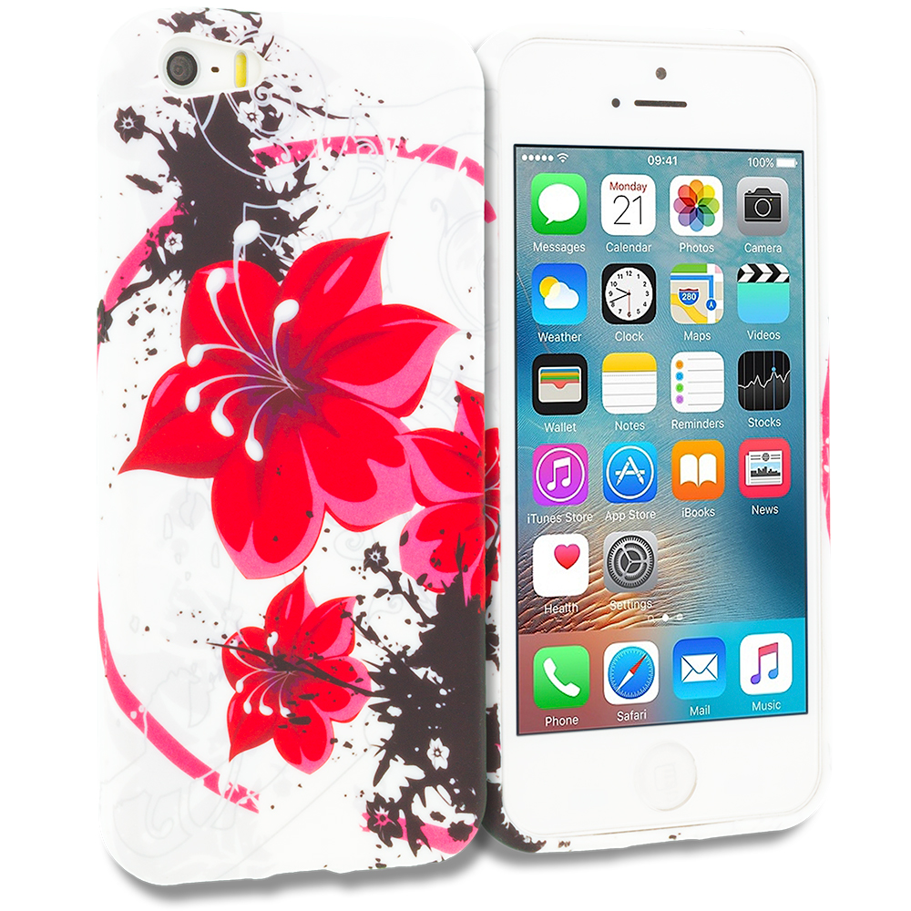 Apple iPhone 5/5S/SE Red n Black Flower Chain TPU Design Soft Rubber Case Cover