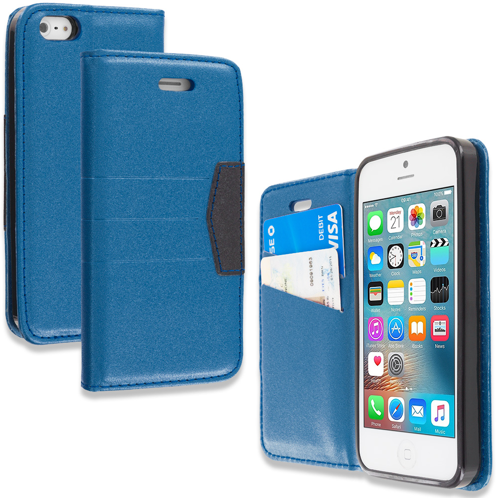 Apple iPhone 5/5S/SE Navy Blue Wallet Flip Leather Pouch Case Cover with ID Card Slots