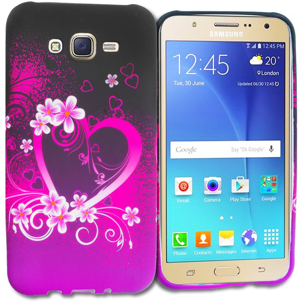 Samsung Galaxy J7 Purple Love TPU Design Soft Rubber Case Cover
