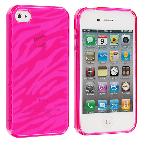 Apple iPhone 4 Bundle Pack Smoke Pink Zebra TPU Rubber Skin Case Cover : Color Pink Zebra