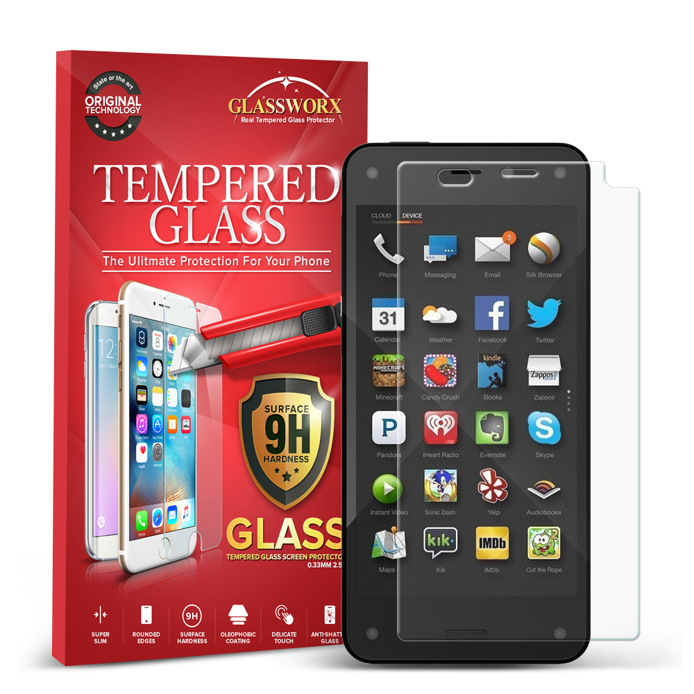 Amazon Fire Phone GlassWorX HD Clear Tempered Glass Screen Protector