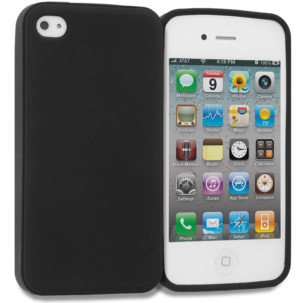 Apple iPhone 4 / 4S Matte Black TPU Rubber Skin Case Cover