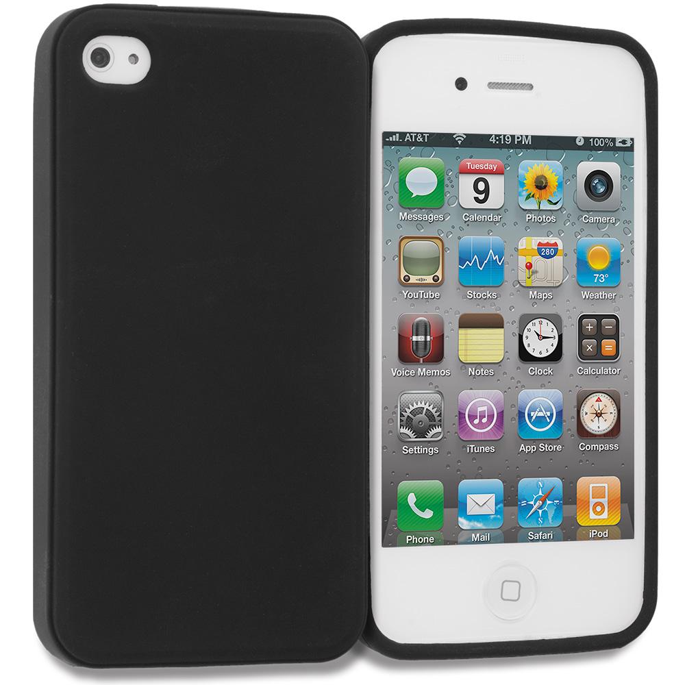 Apple iPhone 4 / 4S Matte Black TPU Rubber Skin Case Cover
