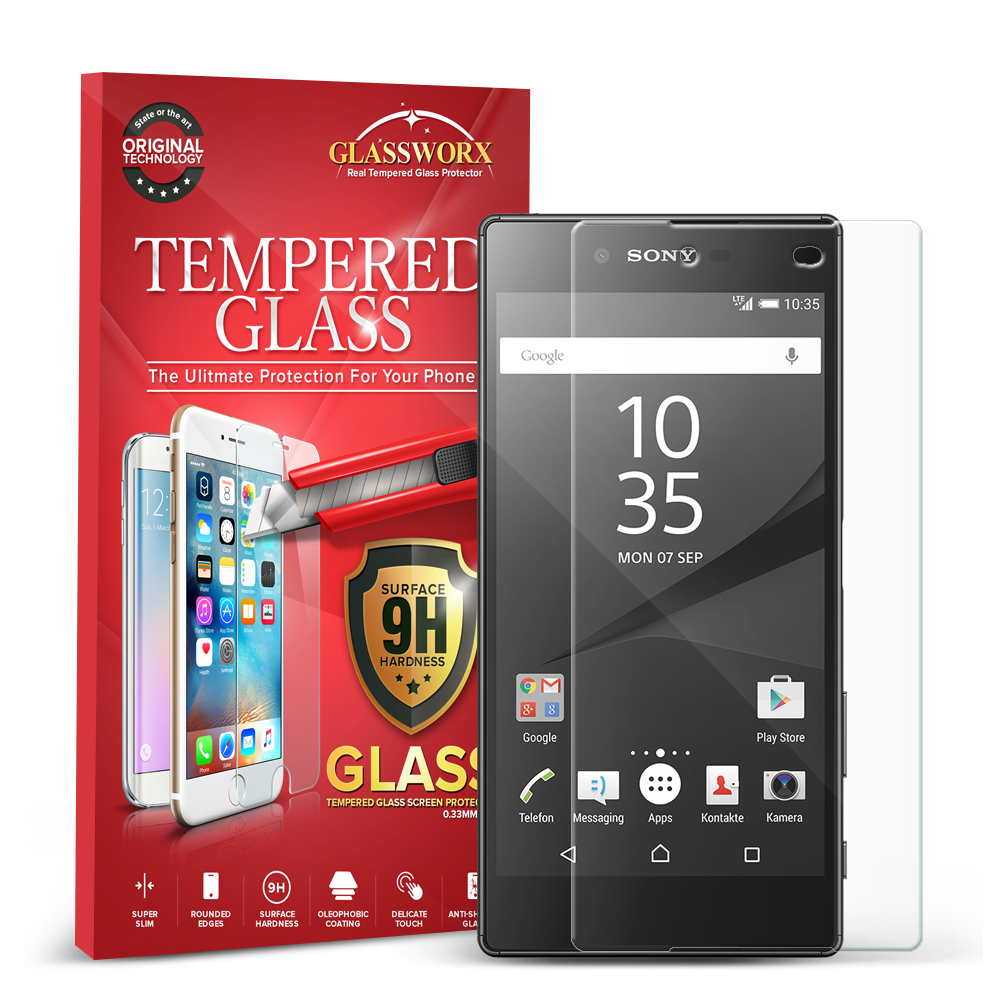 Sony Xperia Z5 Clear GlassWorX HD Tempered Glass Screen Protector