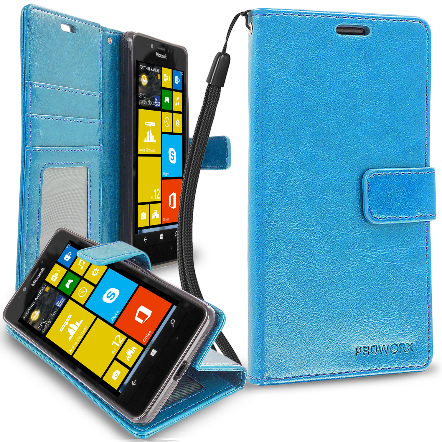 Microsoft Lumia 950 Baby Blue ProWorx Wallet Case Luxury PU Leather Case Cover With Card Slots & Stand