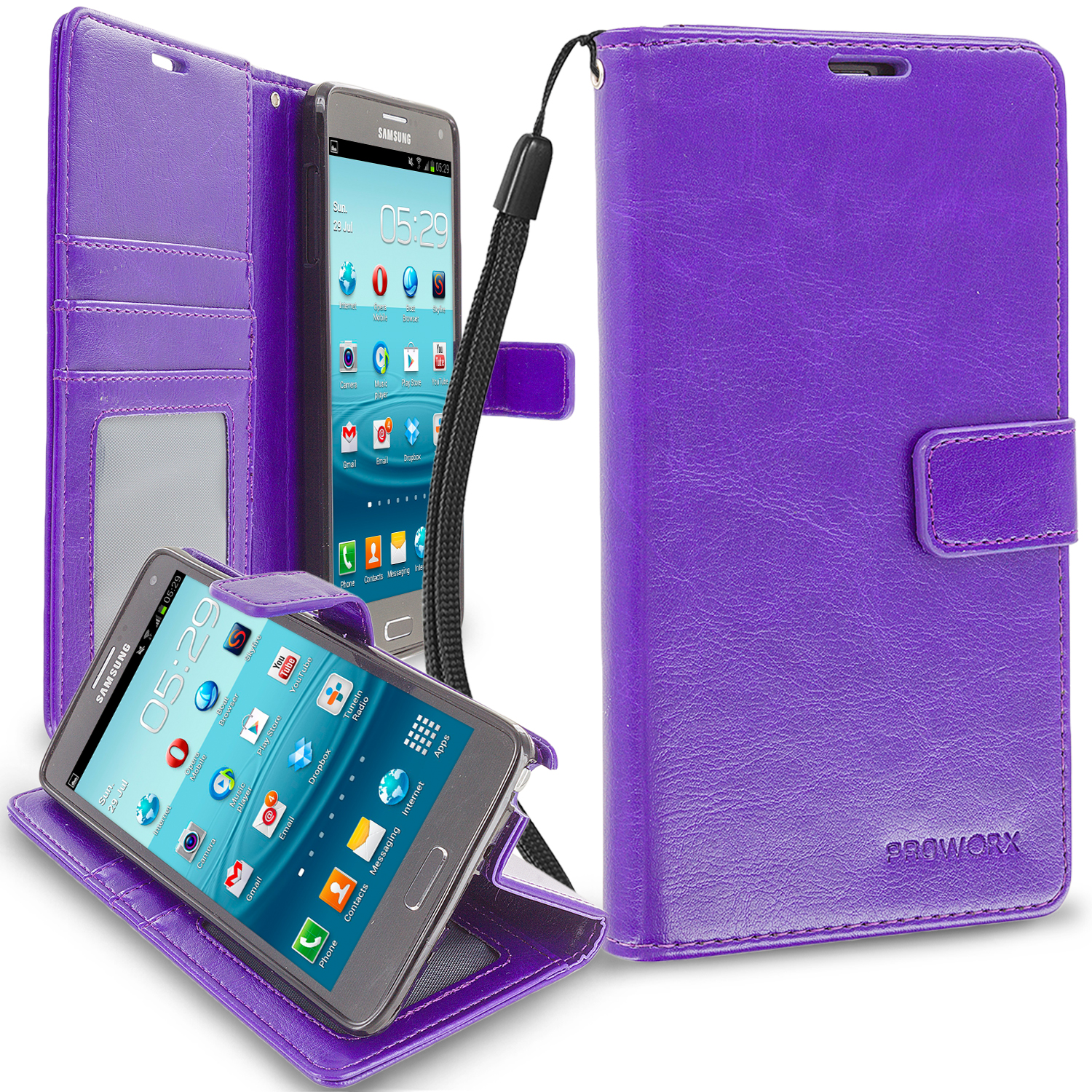 Samsung Galaxy Note 4 Purple ProWorx Wallet Case Luxury PU Leather Case Cover With Card Slots & Stand