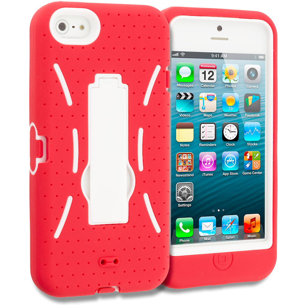 Apple iPhone 5/5S/SE Combo Pack : Neon Green / White Hybrid Heavy Duty Hard/Soft Case Cover with Stand : Color Red / White