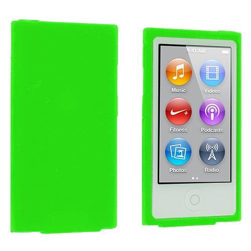 Apple iPod Nano 7th Generation Neon Green Silicone Soft Skin Case Cover