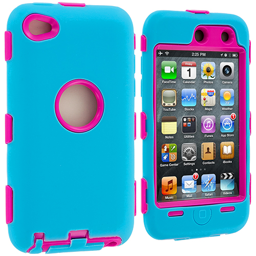 Apple iPod Touch 4th Generation Baby Blue / Pink Deluxe Hybrid Deluxe Hard/Soft Case Cover