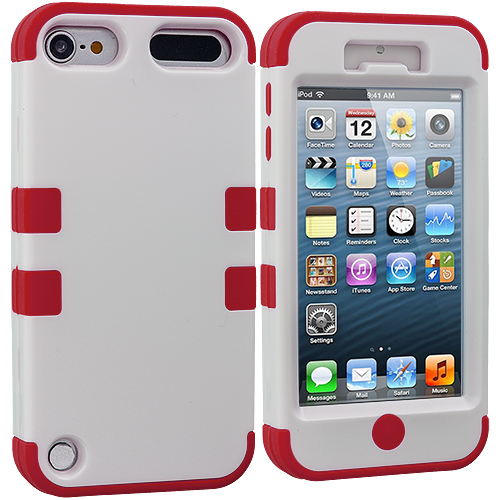 Apple iPod Touch 5th 6th Generation Red / White Hybrid Tuff Hard/Soft 3-Piece Case Cover