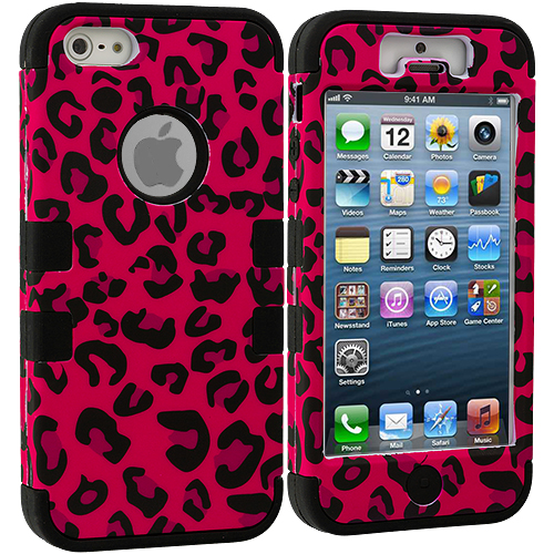 Apple iPhone 5/5S/SE Hot Pink Leopard Shiny Hybrid Tuff Hard/Soft 3-Piece Case Cover