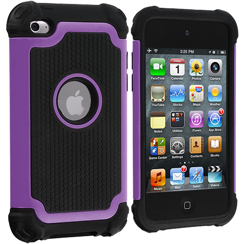 Apple iPod Touch 4th Generation Purple Hybrid Rugged Hard/Soft Case Cover