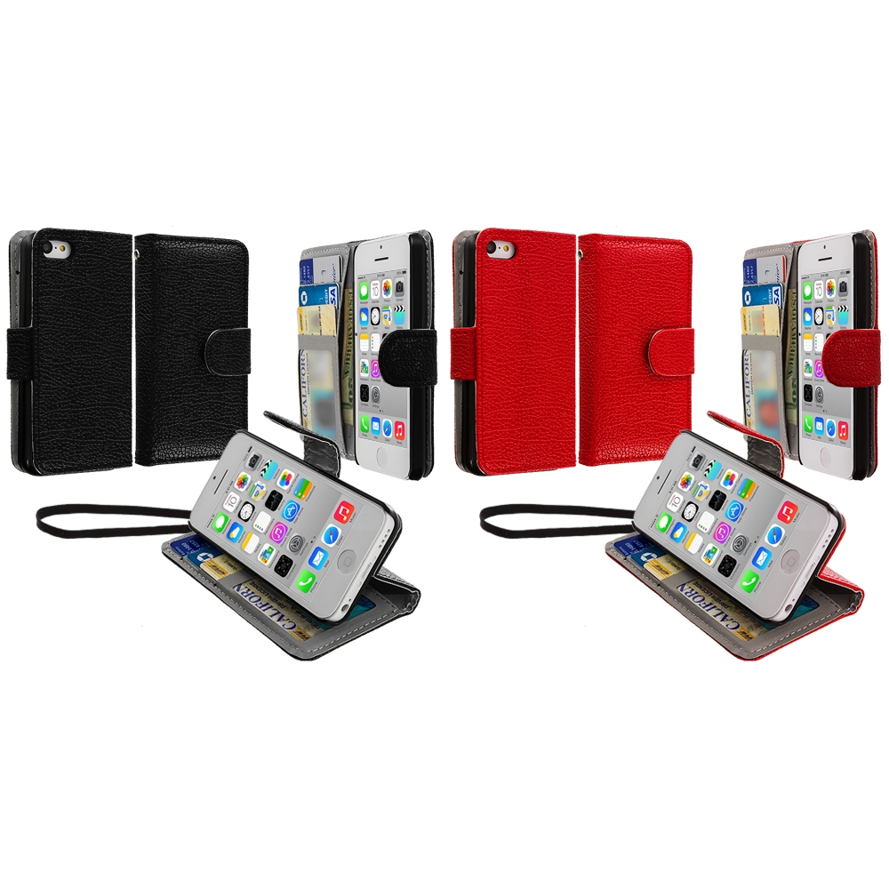 Apple iPhone 5C 2 in 1 Combo Bundle Pack - Black Red Leather Wallet Pouch Case Cover with Slots