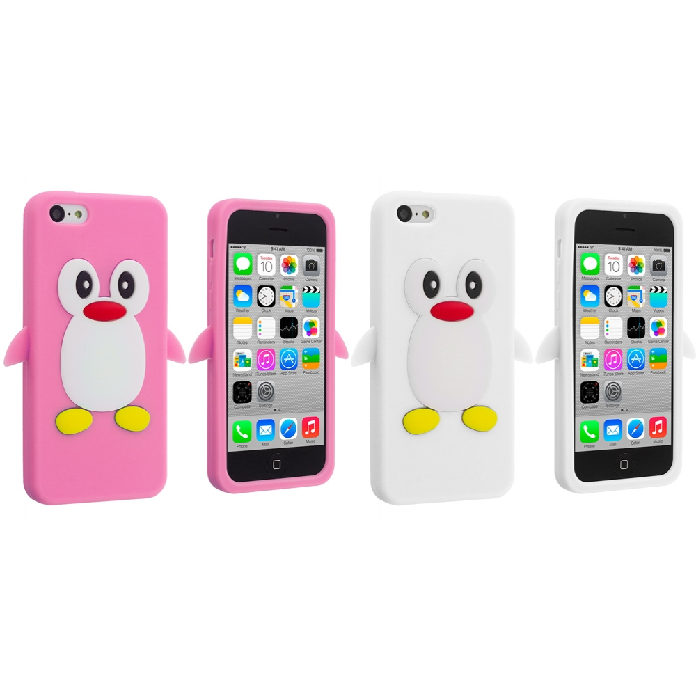 Apple iPhone 5C 2 in 1 Combo Bundle Pack - Light Pink White Penguin Silicone Design Soft Skin Case Cover