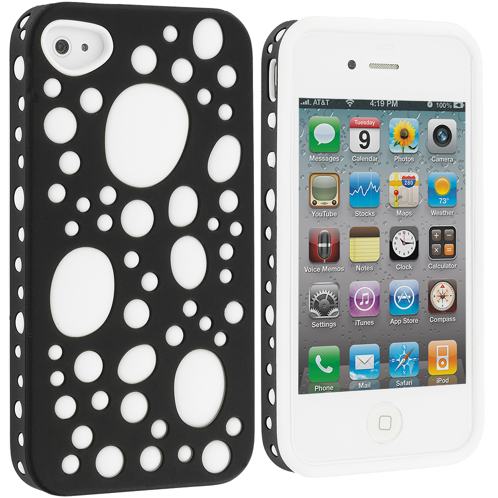 Apple iPhone 4 / 4S Black / White Hybrid Bubble Hard/Soft Skin Case Cover
