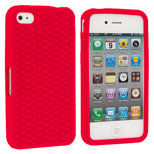 Apple iPhone 4 / 4S Red Silicone Soft Skin Case Cover